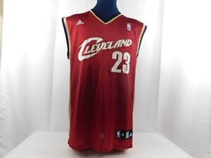 huge selection of 0f24c c3d6e Details about NBA Adidas Cleveland Cavaliers Red Gold LeBron James Jersey  Sz Medium