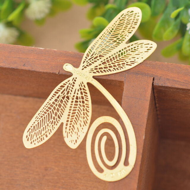 1 Vergoldet Metall Lesezeichen Bookmark Libelle Geschenkidee 3.9x5.6cm