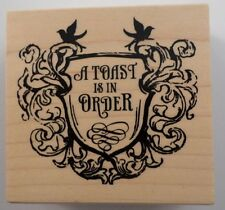 Inkadinkado A Toast Is In Order Sheild Crest Celebrate Wooden Rubber Stamp