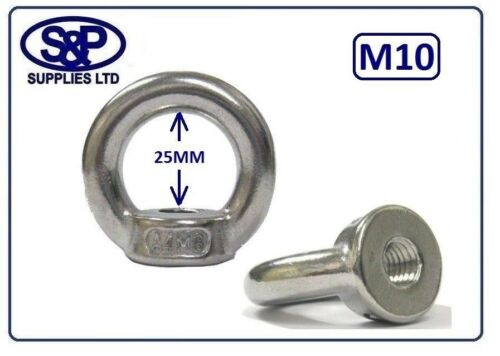 10MM M10 10mm ST//STEEL EYE NUT GRADE 316 A4 DIN582 230KG SWL M10 THREAD EYENUT