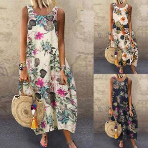 Belle Femme Simple Robe de Plage Bohémienne Imprimé Floral Col V Maxi Jupe Plus