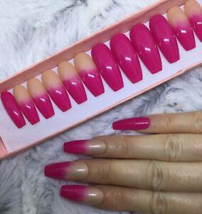 Bubblegum Pink Ombre False Fake Extra Long Coffin Nails Set Ebay