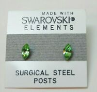 7mm Small Light Green Crystal Oval Stud Earrings Made with SWAROVSKI ELEMENTS