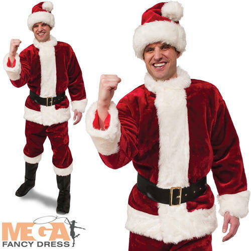 Deluxe Crimson Premier Santa Mens Costume Father Christmas Adult Festive Costume | Neuheit Spielzeug