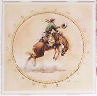 Bronco Rider Ceramic Tile 4.25 Horse Cowboy Kiln Fired Back Splash Accent Decor
