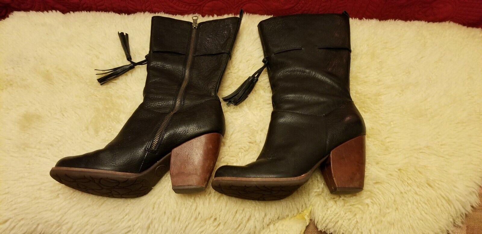 Boots, Kork Kork Kork ease boots 9, black,  Calf Length, Black W tassels 324d47