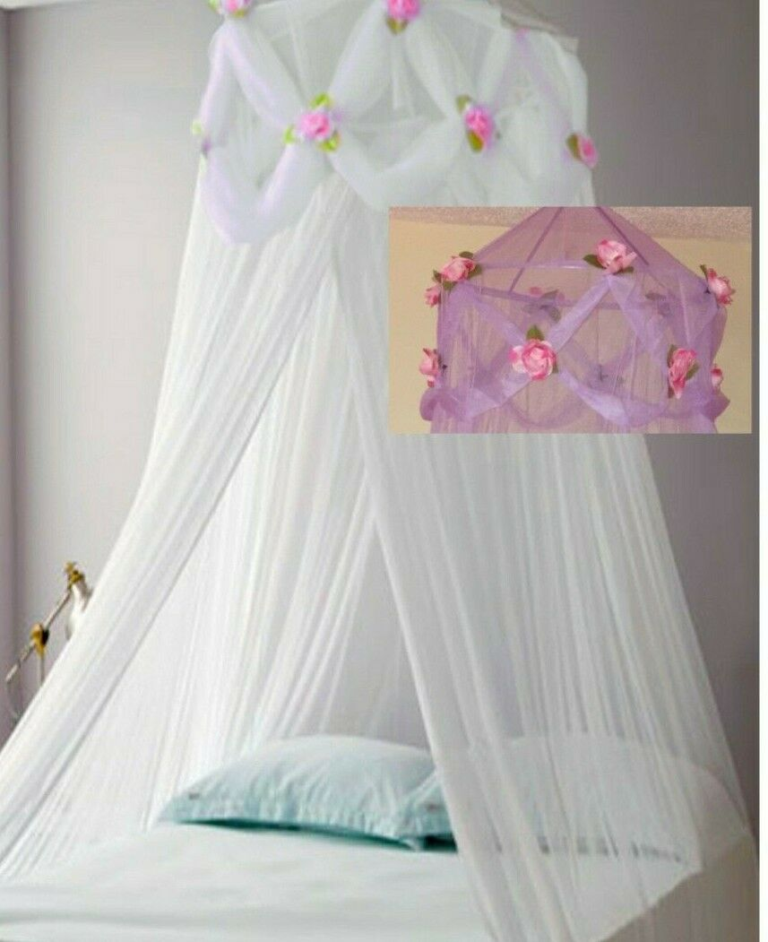 - Pink & Purple Chiffon Furbelow Princess Bed Canopy By Sid For Sale