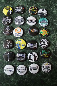SKINHEAD-COLLECTION-24-x-25mm-BUTTON-BADGES-REGGAE-SKA-SCOOTER-TROJAN-RALLIES