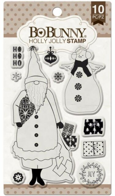 Clear Unmounted Rubber Stamps Set BOBUNNY New 12105768 Holly Jolly Christmas