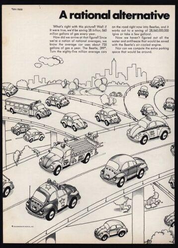 Poilice Car -2pg VINTAGE AD 1973 VOLKSWAGEN BEETLE Cartoon Fire Truck VW
