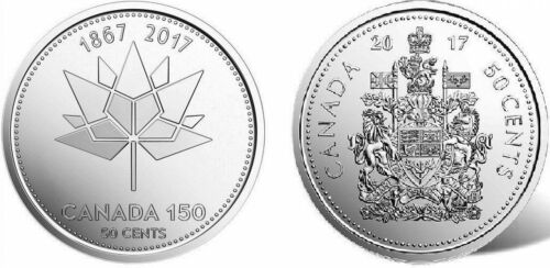 Set of 2017 Canada 150 and Coat of Arms 50 Cent Half Dollar Coins UNC from Rolls