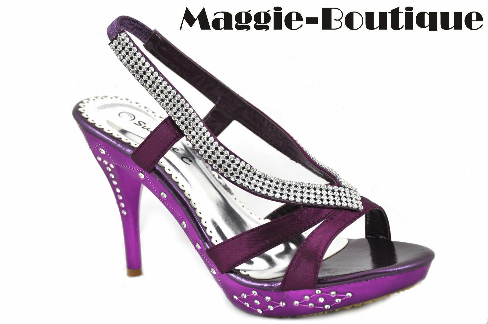 Satin PURPLE Platform Diamante Wedding High Heel Bridal Shoes UK