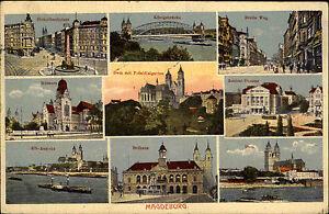 Magdeburg-Mehrbild-AK-1926-Koenigsbruecke-Theater-Rahaus-Hasselbachplatz-Museum
