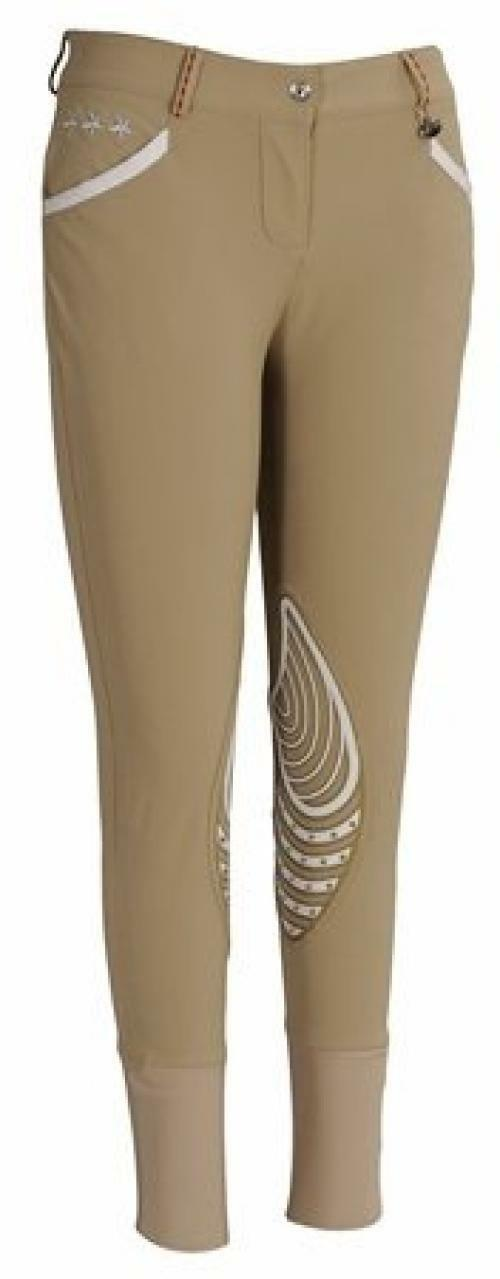 Equine Couture Wouomo Stars and Stripes Knee Patch Breech, Safari, 26