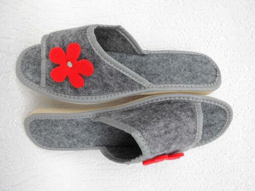 Gr.39 WOLLFILZ FILZ Pantoffeln Hausschuhe 20-01-1-86 Grau
