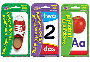 English & Spanish Educational Flash Cards Pack - Fun Home Learning - Ages 3+