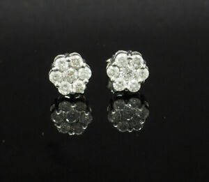 14K-White-Gold-0-80ctw-H-SI2-Round-Cut-Natural-Diamond-Flower-Stud-Earrings