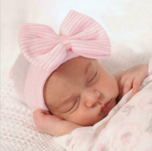 Baby Girl Infant Striped Soft Hat with Bow Cap Hospital Newborn Beanie Hats Pink