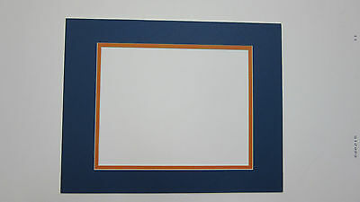 Picture Mat Blue with Orange11x14 for 8x10 photo SET of 6 framing mats