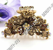 New Fashion brown Crystal silver tone flower hair claws clips pins woman&girl