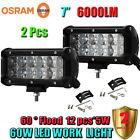 2 PCs 7Inch 60W OSRAM Led Flood Work Light Bar 4WD ATV SUV Off-road Driving Lamp