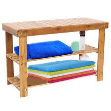 60 cms en bois massif 2 niveaux rangement de chaussures rack stool 100% naturel bambou avec banc