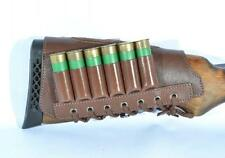 Leather Shotgun Shell Cartridge Buttstock Holder Cheek Rest Padded 12 GA 6 Loops