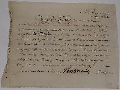 "Aktie 1795 ""north American Land Company"", Signatur Robert Morris (1734-1806) Volumen Groß"
