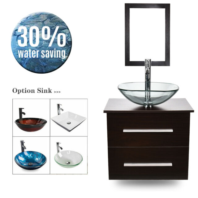 24 Bathroom Vanity Wall Mounted Cabinet Single Vessel Sink Faucet Mirror Combo