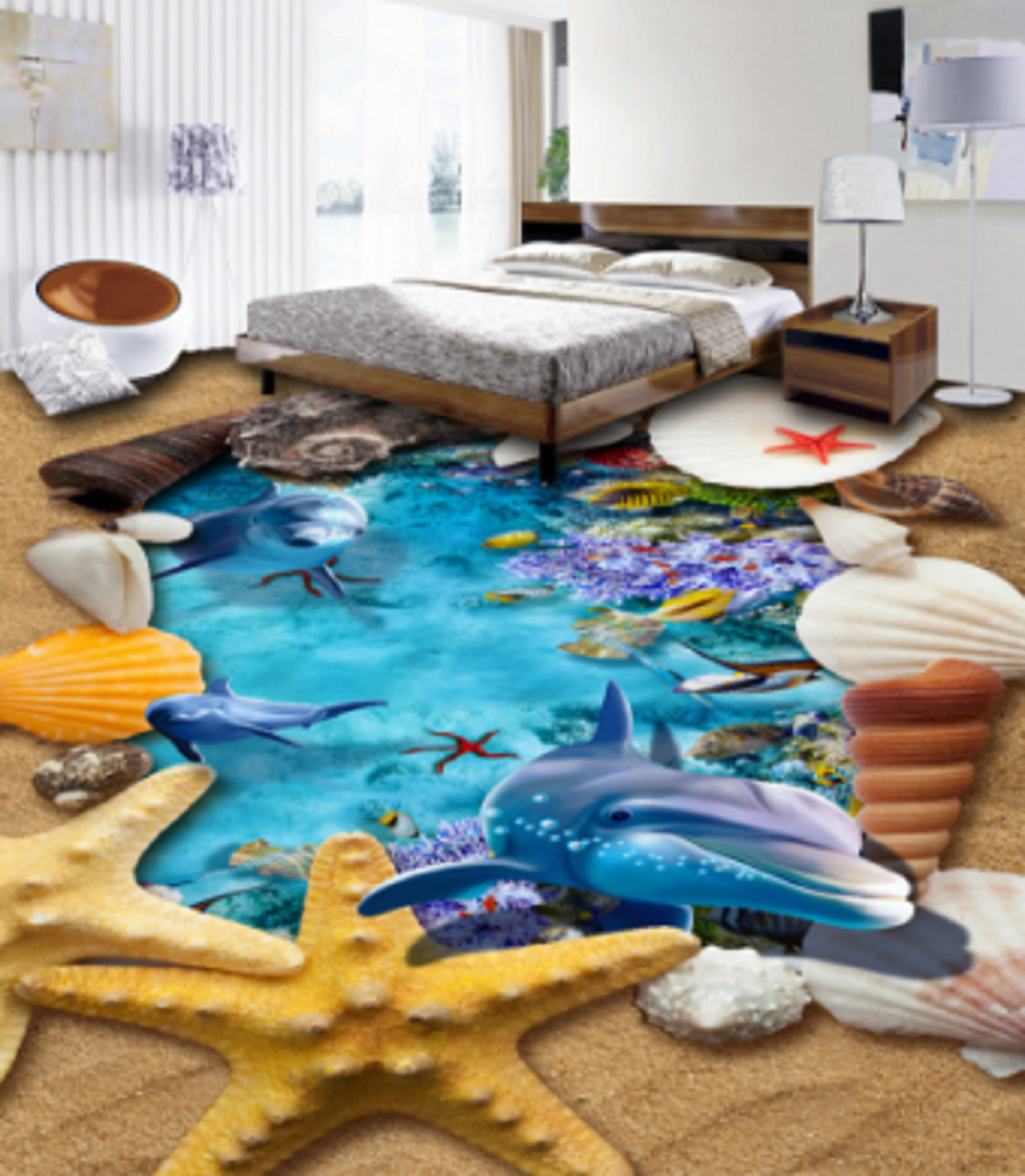 3D 3D 3D Starfish Dolphin 5 Floor WallPaper Murals Wall Print 5D AJ WALLPAPER UK Lemon 8556de