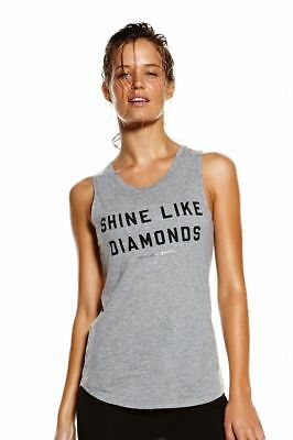 New Spiritual Gangster Womens Shine Like Diamonds Heather Gray Tank Top