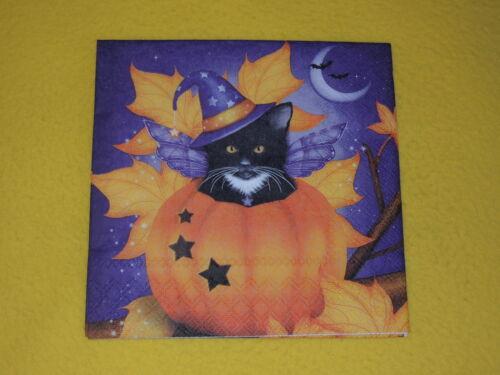 5 trozo servilletas Halloween Cat Gatos calabaza sombrero 1//4 chat serviettentechnik