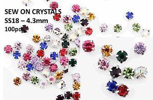 100 X 4.3 Mm Ss18 Sew On Mixed Silver Set Verre Cristal Strass Strass Craft-afficher Le Titre D'origine