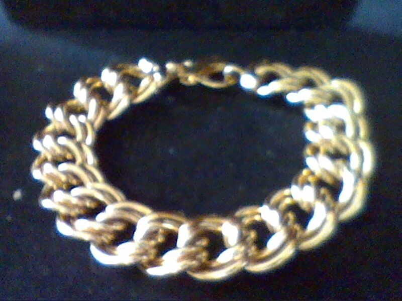 MENS WOMENS 14K & BZ CHARM CHAIN BRACELET 7.5 IN adj.+ FREE RING SZ 5 - 10 ITALY