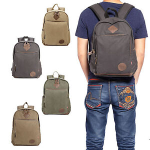 79556a25827f Mens Vintage Canvas Backpack College Leather Camping Satchel 16 ...