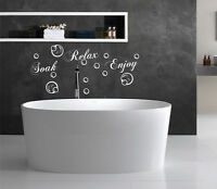 Soak Relax Enjoy Wall Art Vinyl Decal Quote Bathroom Bubbles Bath Sticker Home