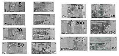 LOTE BILLETES EURO 5-500 PLATA SILVER 24K COLECCION COMPLETA NEW MINT!!!