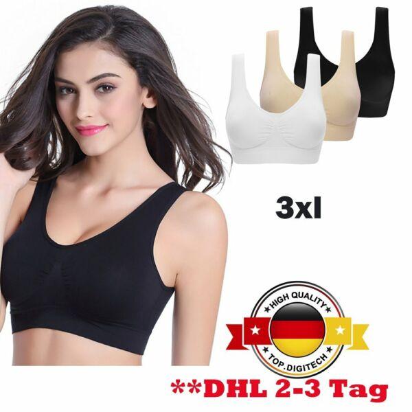 3PC 3XL Schlaf-BH Nahtloser Sport BH Push Up Racerback für Yoga Fitness TD NEU