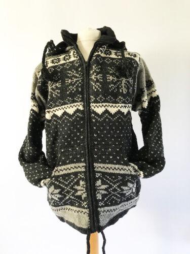 Hippy Black Hoodie Fair Xl Festival Coat Cardigan Isle uldjakke Fairtrade qZvCTT