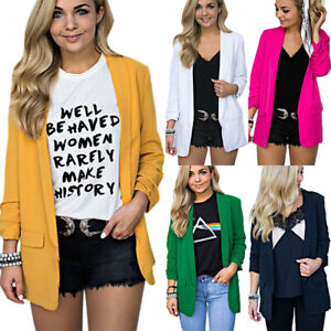 Women-Long-Sleeve-Lapel-Blazer-Coats-Suit-Jacket-Plain-Casual-Cardigan-Plus-Size