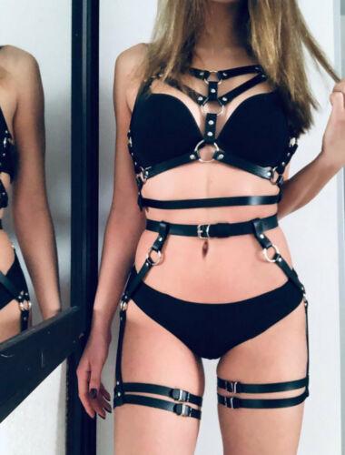 Women Leather Harness Belt BDSM Waist Hip Leg Bondage Strap Garter Wrist DOB66