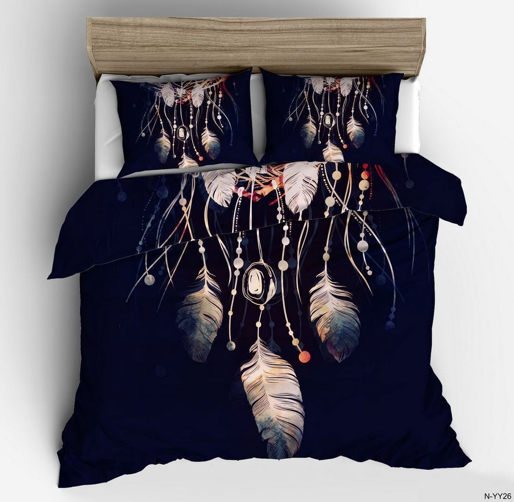 3D Dreamcatcher Feather Bedding Set Quilt Cover Duvet Cover Pillowcase Boho Hot