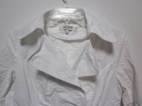 A Cotone Bianco Bavero Womens Popeline Largo Doppio Giacca Romy Petto Small wtPHTqw4