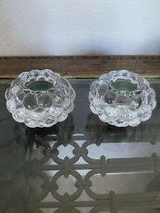 2-Danish-Design-Clear-Crystal-Tea-Light-Candle-Holders-Paperweights-Heavy
