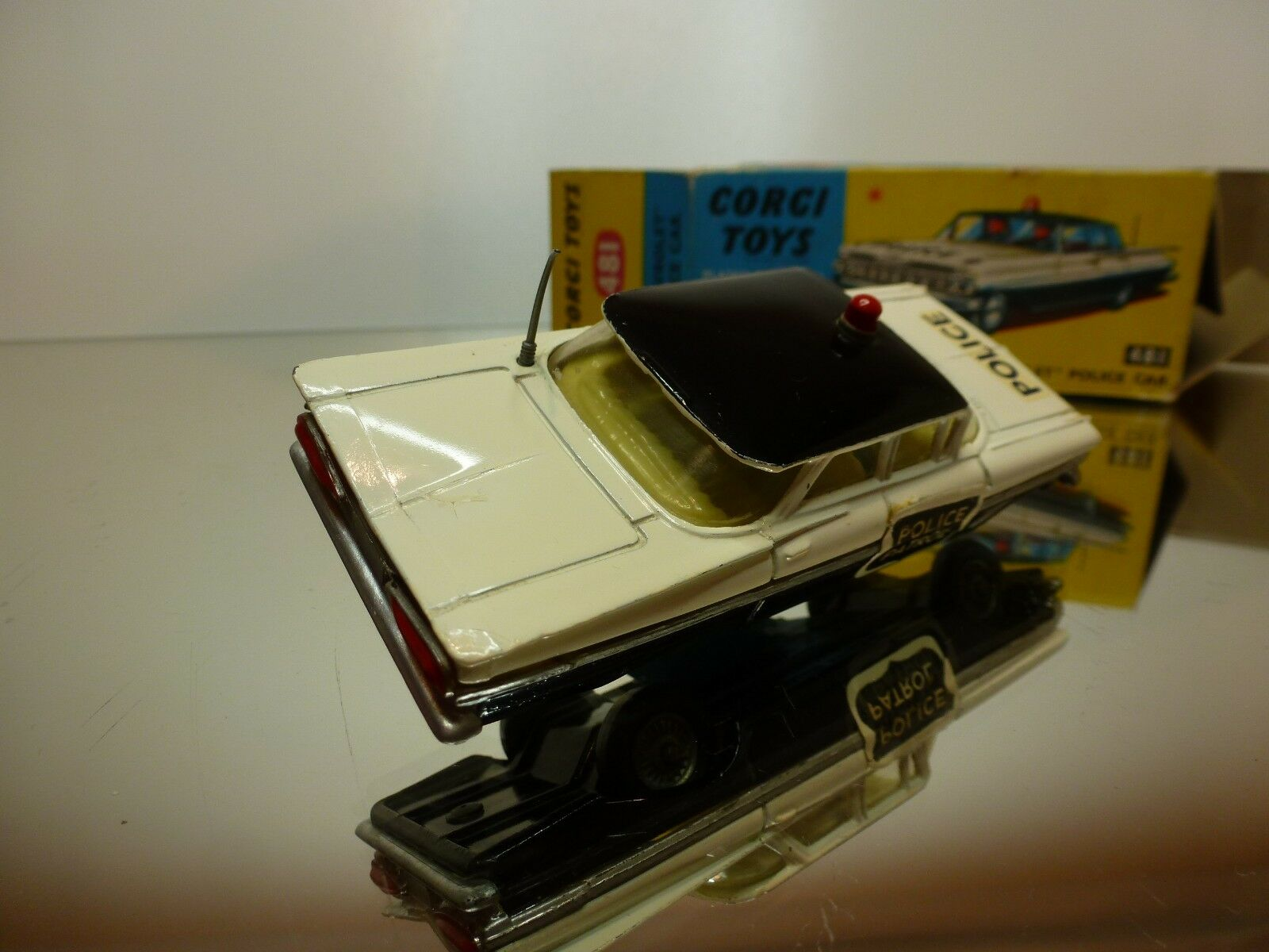 CORGI TOYS 481 CHEVROLET IMPALA POLICE - OFF OFF OFF blanco 1 43 RARE - GOOD IN BOX 5804c4