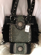 Black and Green Handbag with Fringe and Matching Wallet NEW WITH TAGS