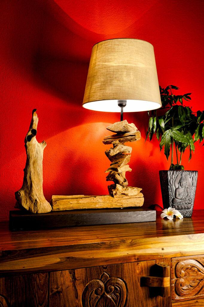 Legno Lampada da tavolo 50cm Lampada da tavolo legno Lampada notte Lampada da tavolo Lampada in legno NUOVO