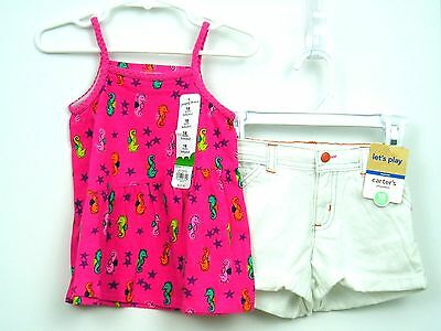 Girls Summer Outfit Top/Shorts Sz 18 months Pink Seahorses White Denim NWT