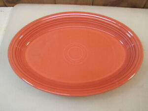 "Vintage 13.5"" Persimmon Coral Fiesta Platter - Homer Laughlin B3918"