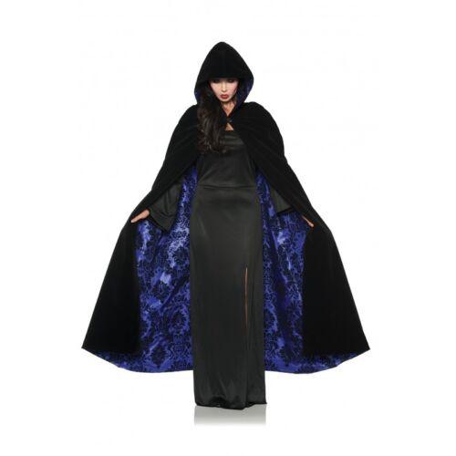 Details about  /Deluxe Velvet /& Satin Flocked Hooded Cape Adult Renaissance Cloak Medieval